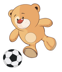 A stuffed toy bear cub a soccer player cartoon