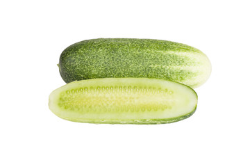 one whole cucumber and half isolated on white background