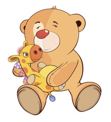 A stuffed toy bear cub and a toy giraffe cartoon