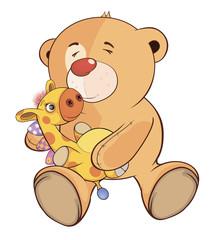 A stuffed toy bear cub and a toy giraffe cartoon