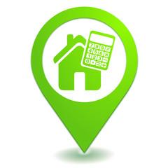 crédit immobilier sur symbole localisation vert