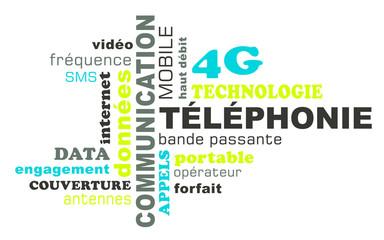 Nuage de mots sur le thème de la téléphonie et 4G
