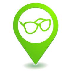opticien sur symbole localisation vert