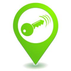 ouverture fermeture télécommande sur symbole localisation vert