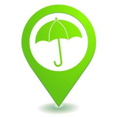 parapluie sur symbole localisation vert
