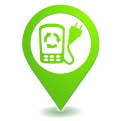 point de recharge téléphone sur symbole localisation vert