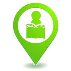 presse bibliothèque sur symbole localisation vert