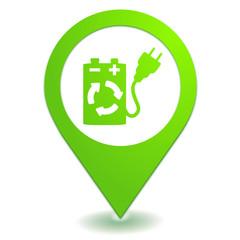 pile rechargeable sur symbole localisation vert