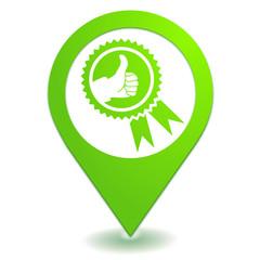 satisfaction pouce levé sur symbole localisation vert