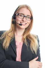 Blonde Frau mit Headset