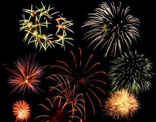 Colorful and vibrant fireworks