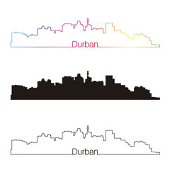 Durban skyline linear style with rainbow