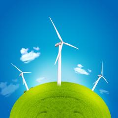 windmill and green globe