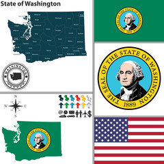 Map of state Washington, USA