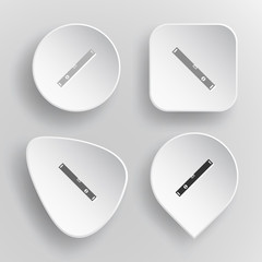 Spirit level. White flat vector buttons on gray background.