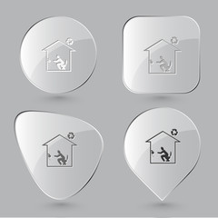 Home toilet. Glass buttons. Vector illustration.