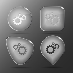 Gears. Glass buttons. Vector illustration.