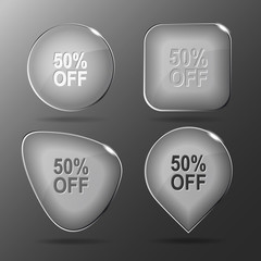 50% OFF. Glass buttons. Vector illustration.