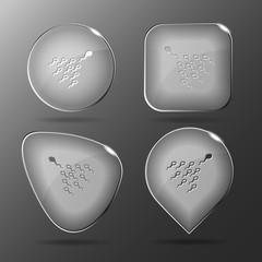 Spermatozoon. Glass buttons. Vector illustration.