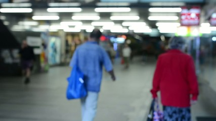 commuter people - in the subway - timelapse - blurred shot