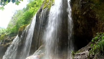 Beautiful waterfall falling off a cliff, Chegem Gorge
