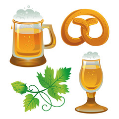 Beer set. Collections for Oktoberfest. Beer, hops and pretzel