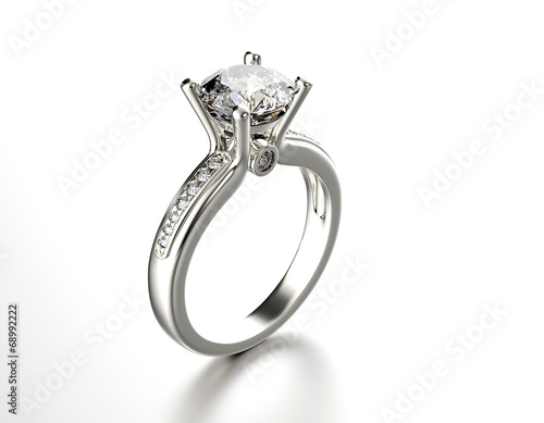 Golden Engagement Ring with Diamond. Jewelry background - 68992222