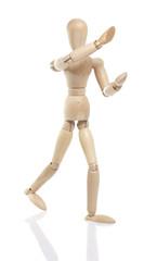 wooden dummy holding something