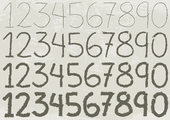 Hand Drawn Numbers. The ten numbers drawn by hand