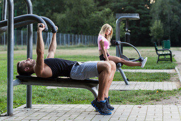 People training on the outdoor gym