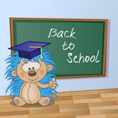 Cartoon Hedgehog wrote in classroom