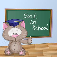 Cartoon Cat wrote in classroom
