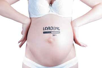 "Pregnant belly with ""loading 50 percent"" sign isolated"