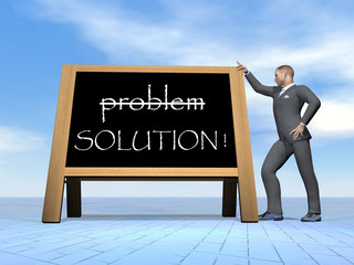 Businessman solution message - 3D render