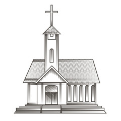 church in engraving style
