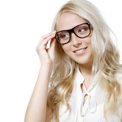 Eyewear glasses female portrait. Young beautiful woman wearing g