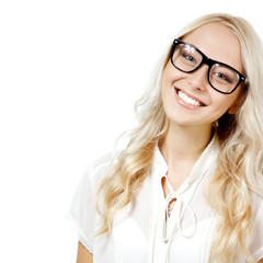 Eyewear glasses female portrait. Young beautiful woman wearing g