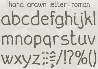 Roman version of a hand drawn alphabet