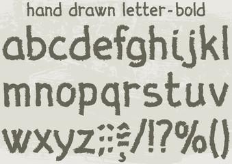 Bold version of a hand drawn alphabet