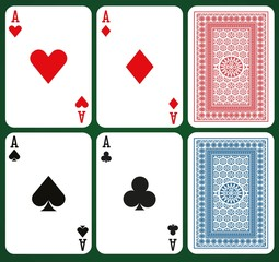 Poker set with isolated cards - Aces and card backs