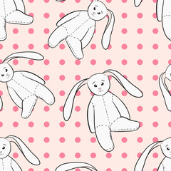 White bunnies toys childish seamless pattern