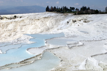 Travertine Pools Above Pamukkale, Turkey
