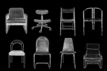 Konturen von Sesseln und Stühlen