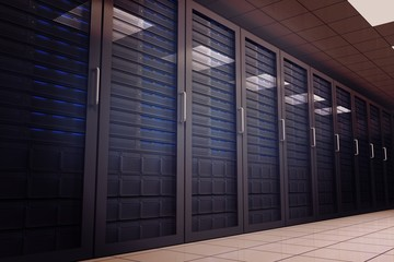Digitally generated server room with towers