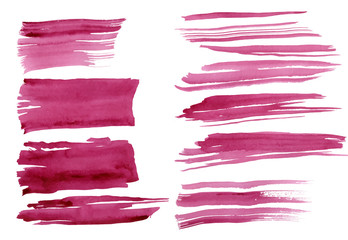 Watercolor strokes set