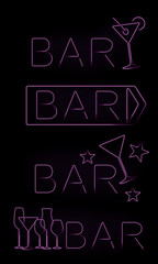 Bar neon signs set