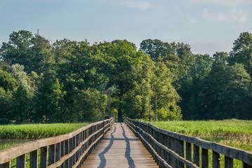 long wooden bridge over the lake