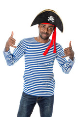 African american man in costume pirate on white background