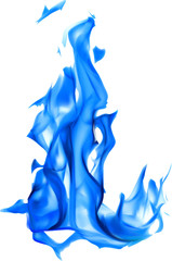 illustration with isolated on white blue fire