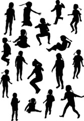 seventeen child silhouettes collection isolated on white